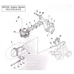 Yamaha carburateur compleet  F15  nr 18 van de afbeelding. (Elektrische start uitvoering). Bestelnummer: PAF15-07090000W. R.O.: