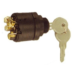 Plastic ignition lock with rubber hood 3-positions-contact-start and 3 connectors. Order Number: GS11152
