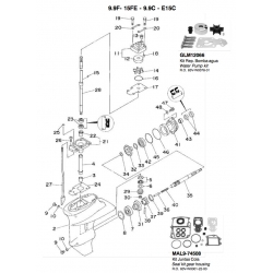 NR.21 - Base drive shaft. Origineel: 63V-45331-005B (PAF15-06020001)