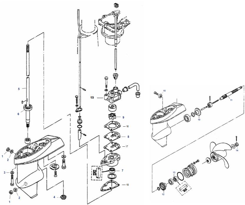 Verwonderend Staartstuk Onderdelen 4 & 5 pk Mariner buitenboordmotor kopen BI-21